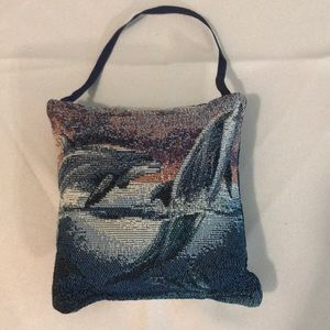 Dolphin tapestry mini pillow
